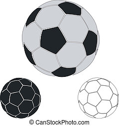 Soccerball. Set of soccerballs. Soccerball contour. Ball for...