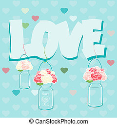 Declaration of Love card design with glass jars of pink...