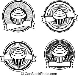 Black and white retro cupcake stamps