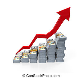 New 100 US Dollar Rising Graph - Stacks of New 100 US Dollar...