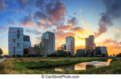 Amsterdam offices sunrise - Beautiful sunrise panorama of...