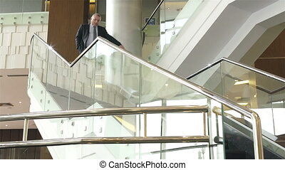 Mobility - Businessman running down the ladder with his hand...