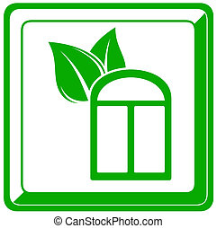 window and leaf icon - green icon with window and leaf...
