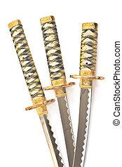 katana, sobre, espadas, três, japoneses,  samurai, branca
