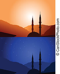 Vector mosque silhouette day and night