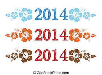 Vector colorful aloha 2014 text with hibiscus