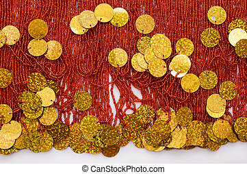 Background of beads and sequins - Background of embroidery...