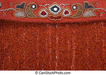 Embroidery with beads - Luxurious handmade belt embroidered...