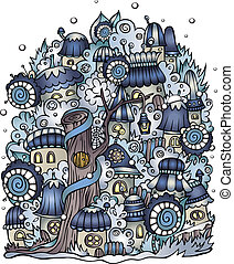 vector fairytale drawing town - Illustration of winter...