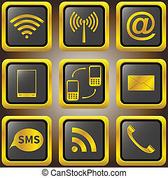 Mobile phone golden icons.