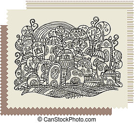 fantasy vector fairy-tale drawing town - Cartoon abstract...