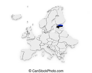 Map of Europe and Estonia. 3d