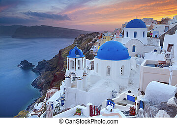 Santorini - Image of small village Oia, located on beautiful...
