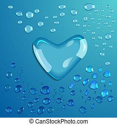 Waterdrop Heart Vector - Waterdrop on blue background Heart...