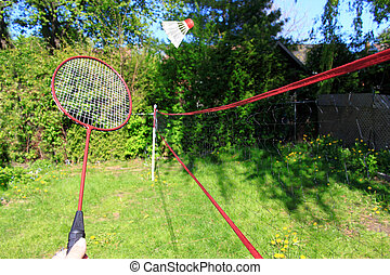 Playing badminton outdoors - Playing the sport of badminon...