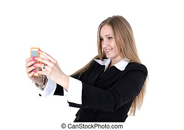 woman in business outfit take a self portrait with her phone...