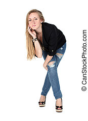 Casual woman smiling isolated on white