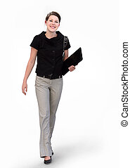 Happy businesswoman - Happy young business woman on white...