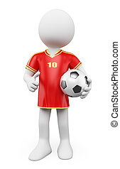 3D white people. Soccer World Cup player. Red jersey - 3d...