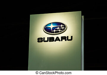 emblem of Subaru dealer - BANGKOK, THAILAND - APRIL 10 : An...