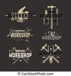 Vintage Workshop conceptual labels, elements and badges with...