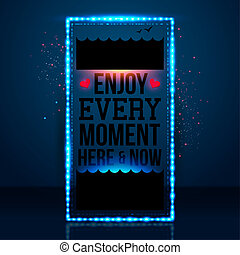 Enjoy every moment here and now. Motivating poster, nautical...