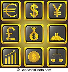 Golden finance buttons