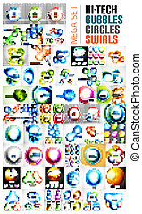 Swirl, circle, sphere, glossy bubble designs
