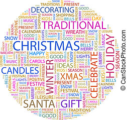 CHRISTMAS. Word cloud concept illustration. Wordcloud...