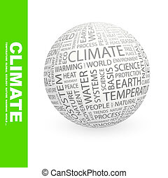 CLIMATE. Concept illustration. Graphic tag collection....