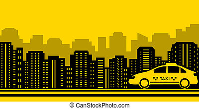 taxi city background with black town and yellow cab