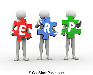 3d man puzzle piece - erp - 3d rendering of people holding...