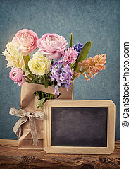 Flowers and a chalk board - Flowers and a black chalk board
