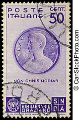 Stamp shows Medallion with Horace - ITALY - CIRCA 1936: A...