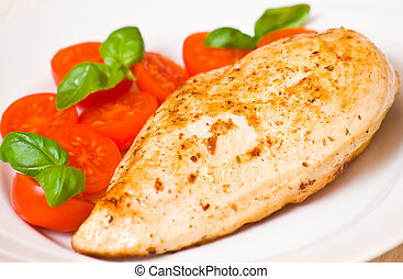 chicken breast with fresh cherry tomatoes