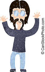 cartoon hippie man waving arms