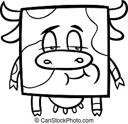 square cow cartoon coloring page - Black and White Cartoon...