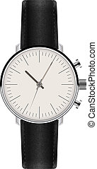 Watch with Leather Strap Vector - Watch with Leather Strap...