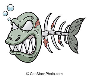 Zombie fish - Vector illustration of Cartoon zombie fish