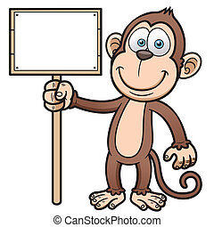Cartoon monkey - Vector illustration of Cartoon monkey with...