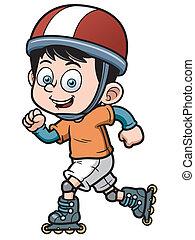 Roller Skating - Vector illustration of Roller Skating Boy
