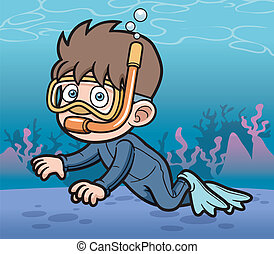 Snorkeling kid - Vector illustration of Snorkeling kid