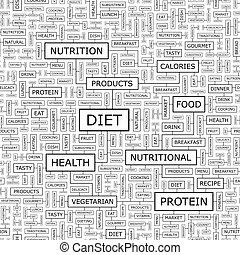 DIET Seamless pattern Word cloud illustration