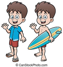 Boy Surfer - Vector illustration of Boy Surfer with...