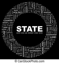 STATE. Word cloud concept illustration. Wordcloud collage.
