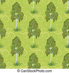 Seamless, birch trees and floral pattern - Seamless...
