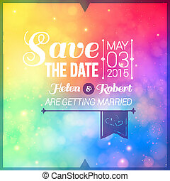 Save the date for personal holiday. Wedding invitation. Vector image.
