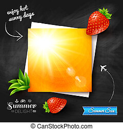 Card with hot summer sun on a chalkboard background. Vector image.