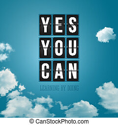 Yes, You can Motivational poster, typography design Vector...