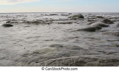 A steady water on the sea - A steady sea water with some...